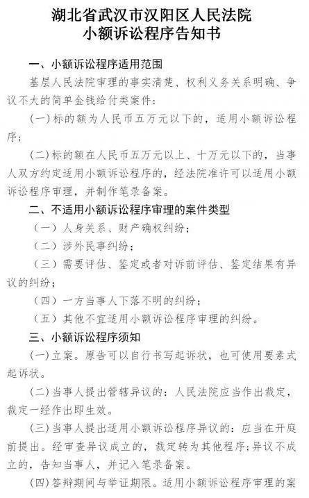 不上二十分钟审结!汉阳区人民法院简单化小额诉讼案件审理程序流程 第1张