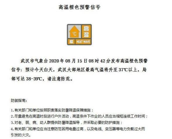 风大、高溫双预警信息,武汉市部分地区达到39℃ 第2张