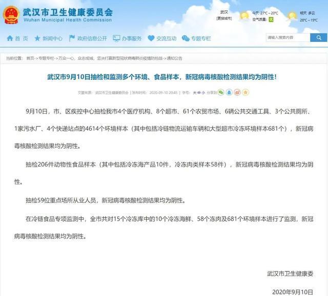 通告|武汉9月10日抽样检验和检测好几个自然环境、食品类样版,新冠病毒dna检测結果均为呈阴性 第2张