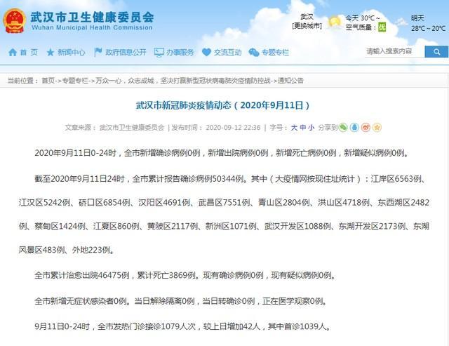 通告|武汉新冠肺炎肺炎疫情动态性(今年9月11日) 第2张