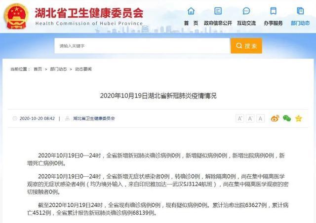 通报  2020年10月19日湖北省新冠肺炎市肺炎疫情 第2张