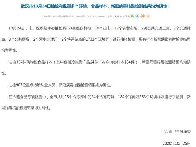 焦点| 10月24日,武汉采样监测了几个环境和食品样本,SARS-CoV-2核酸检测结果均为阴性! 第1张