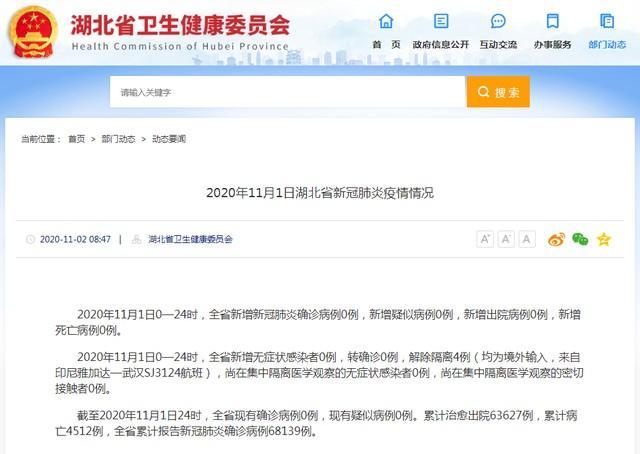 通报  2020年11月1日湖北省新冠肺炎市肺炎疫情 第2张