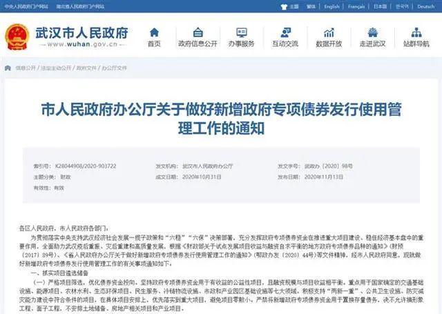 武汉用法律的三章来发行新的政府特别债券,集中在七个主要领域。 第2张