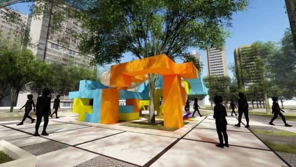 """武汉为家乡设计了""""魔方口袋公园"""",将组装理念引入景观设计。 第2张"""