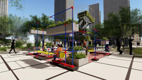 """武汉为家乡设计了""""魔方口袋公园"""",将组装理念引入景观设计。 第3张"""