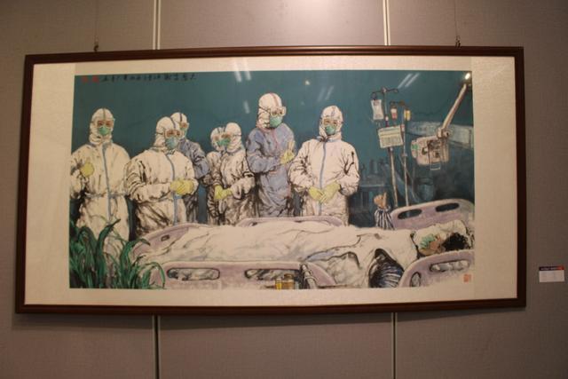 20世纪90年代后,画家们用3000张抗疫照片做了一幅画...湖北艺术界抗疫艺术作品展开幕。 第6张