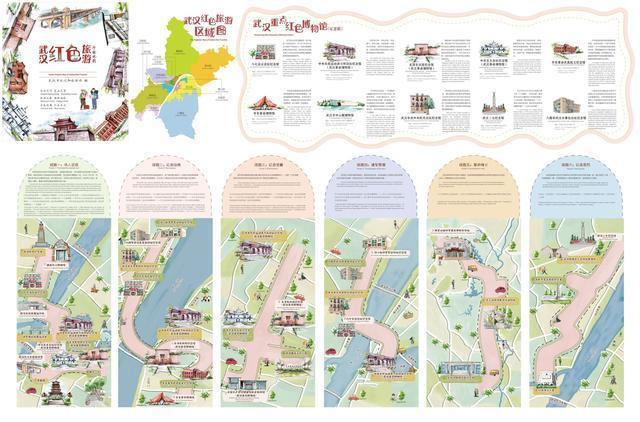 武汉是第一张红色旅游手绘地图,新增6条经典线路。 第1张