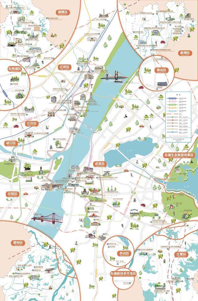 武汉是第一张红色旅游手绘地图,新增6条经典线路。 第2张