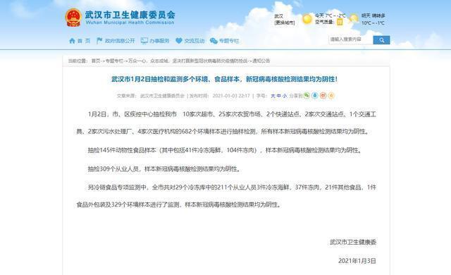 武汉市1月2日对多个环境、食品样品进行抽样监测,新冠状病毒核酸检测结果均为阴性! 第1张