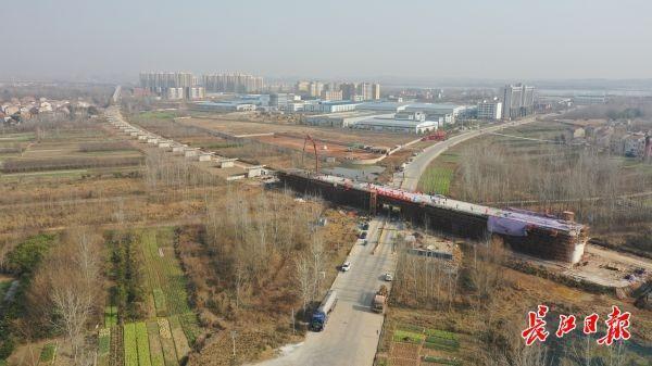 武汉江北铁路倒水河大桥最后一根连续梁合拢。 第3张